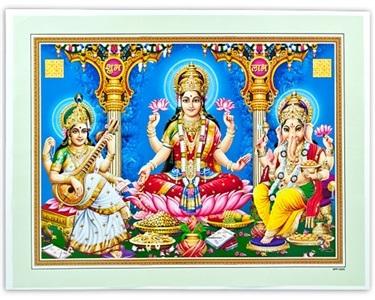 Laxmi Ganesh Amp Saraswati Art Poster Wholesale